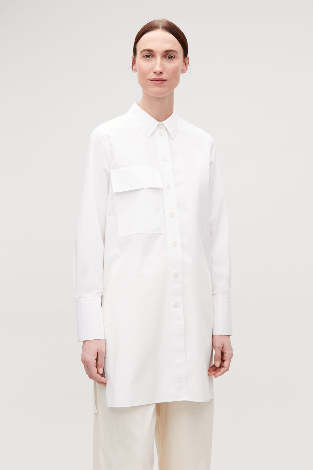 코스 COS UTILITARIAN SHIRT WITH POCKET,Optic white