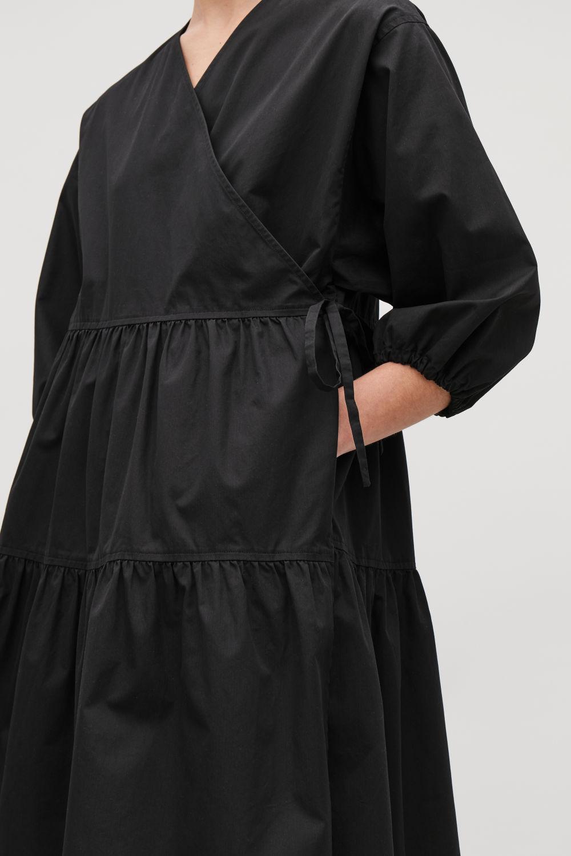 COS GATHERED A-LINE WRAP DRESS,Black