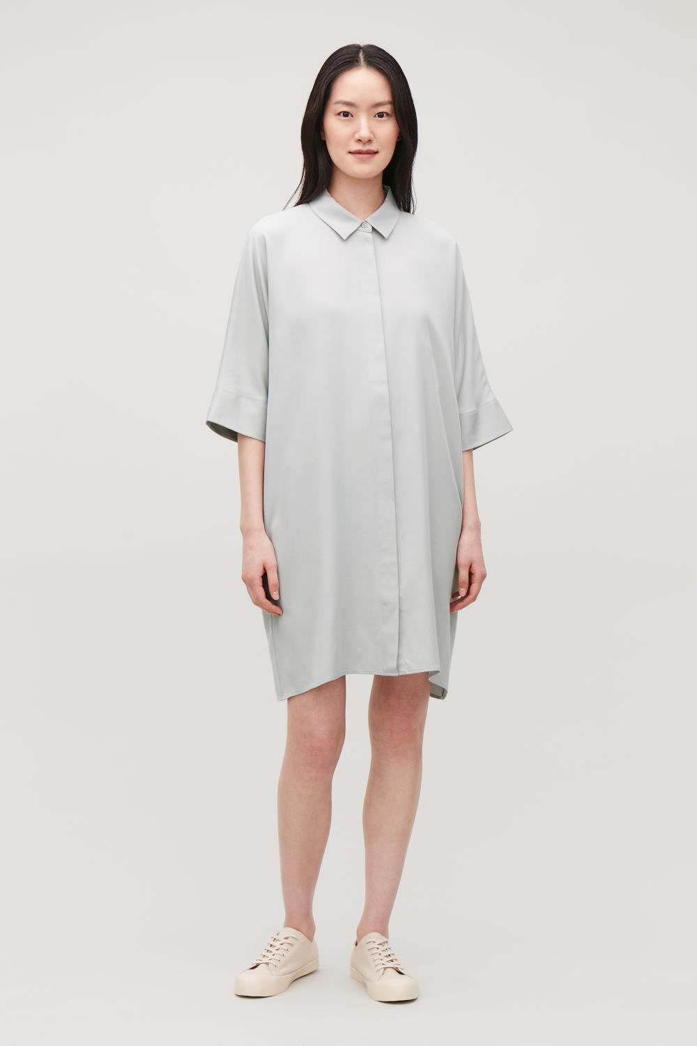 코스 셔츠 드레스 COS DRAPED BOXY SHIRT DRESS,Light grey