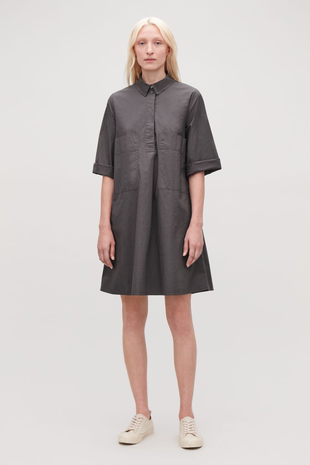 코스 COS CASUAL A-LINE POCKET DRESS,Charcoal