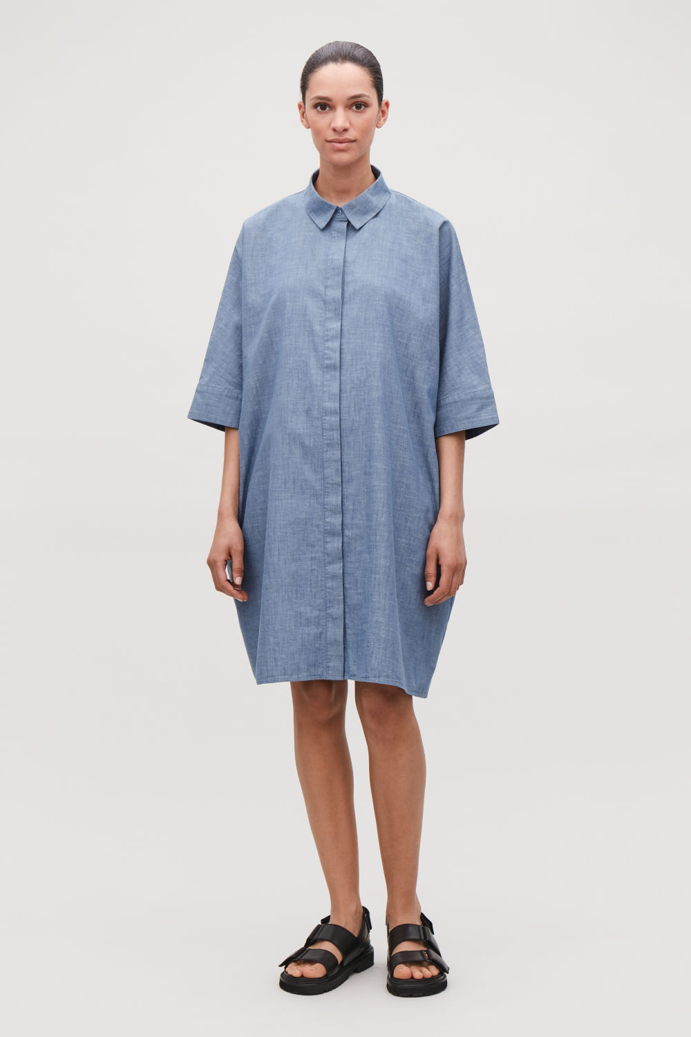 코스 셔츠 드레스 COS BOXY DENIM SHIRT DRESS,Chambray blue