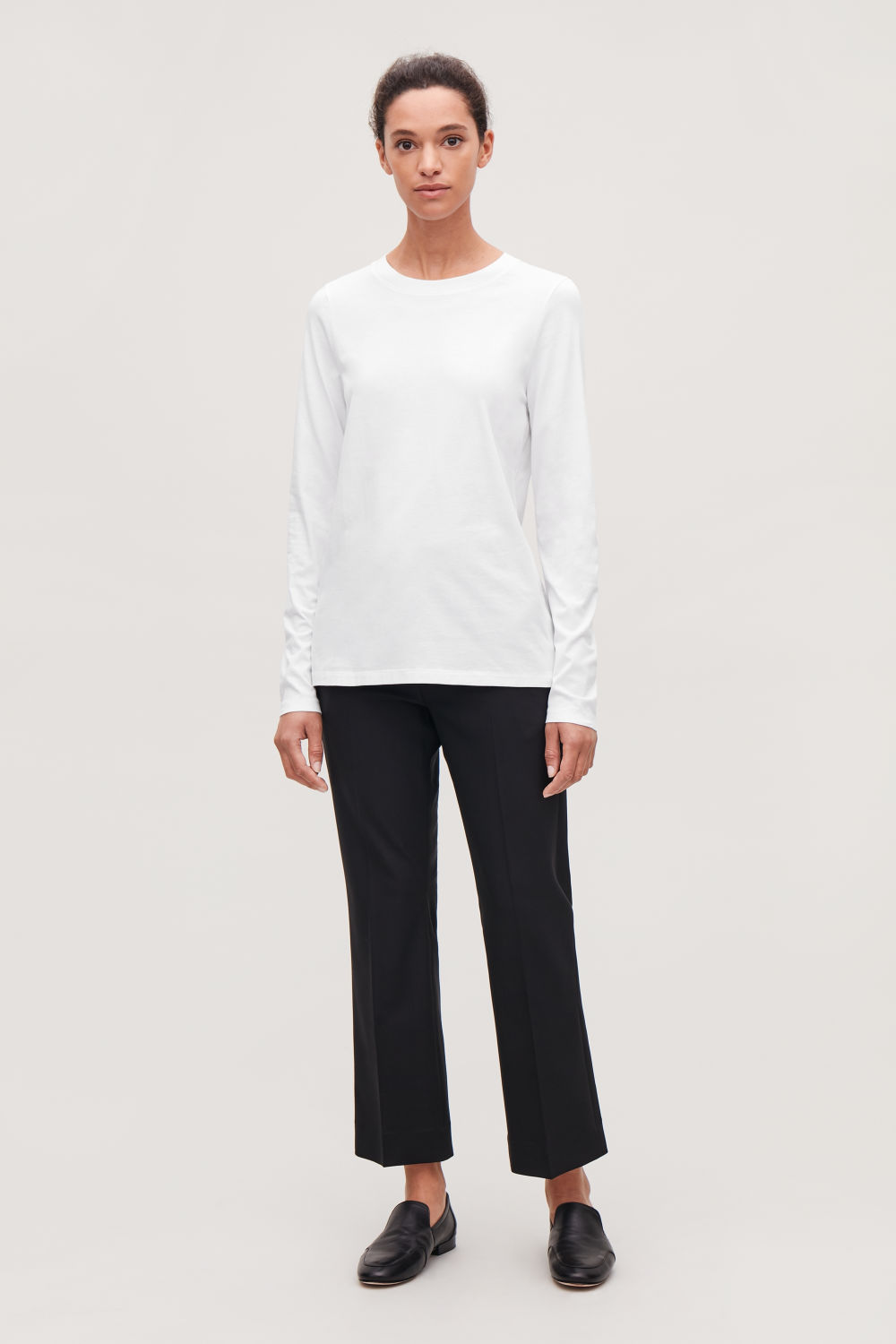 코스 COS STRAIGHT-HEM LONG-SLEEVED TOP,White