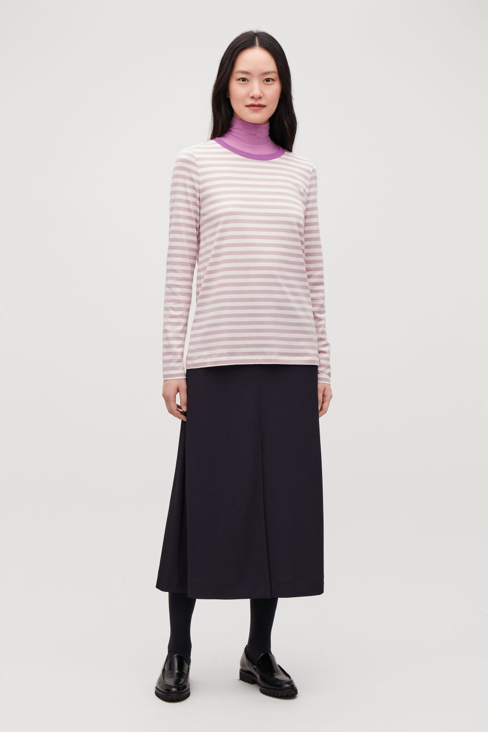 코스 COS STRAIGHT-HEM LONG-SLEEVED TOP,Lilac