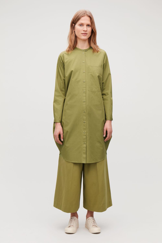 코스 COS CIRCULAR GRANDAD SHIRT DRESS,Olive green