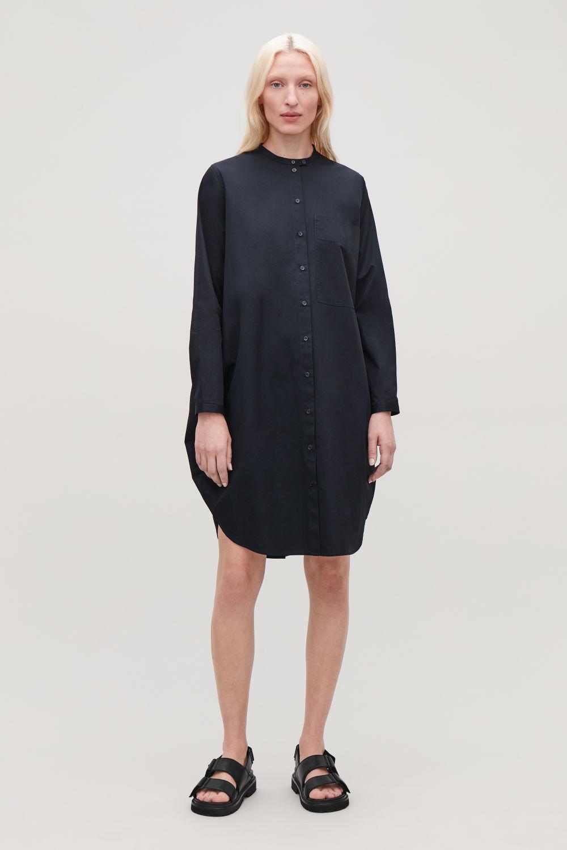 코스 COS CIRCULAR GRANDAD SHIRT DRESS,Deep navy