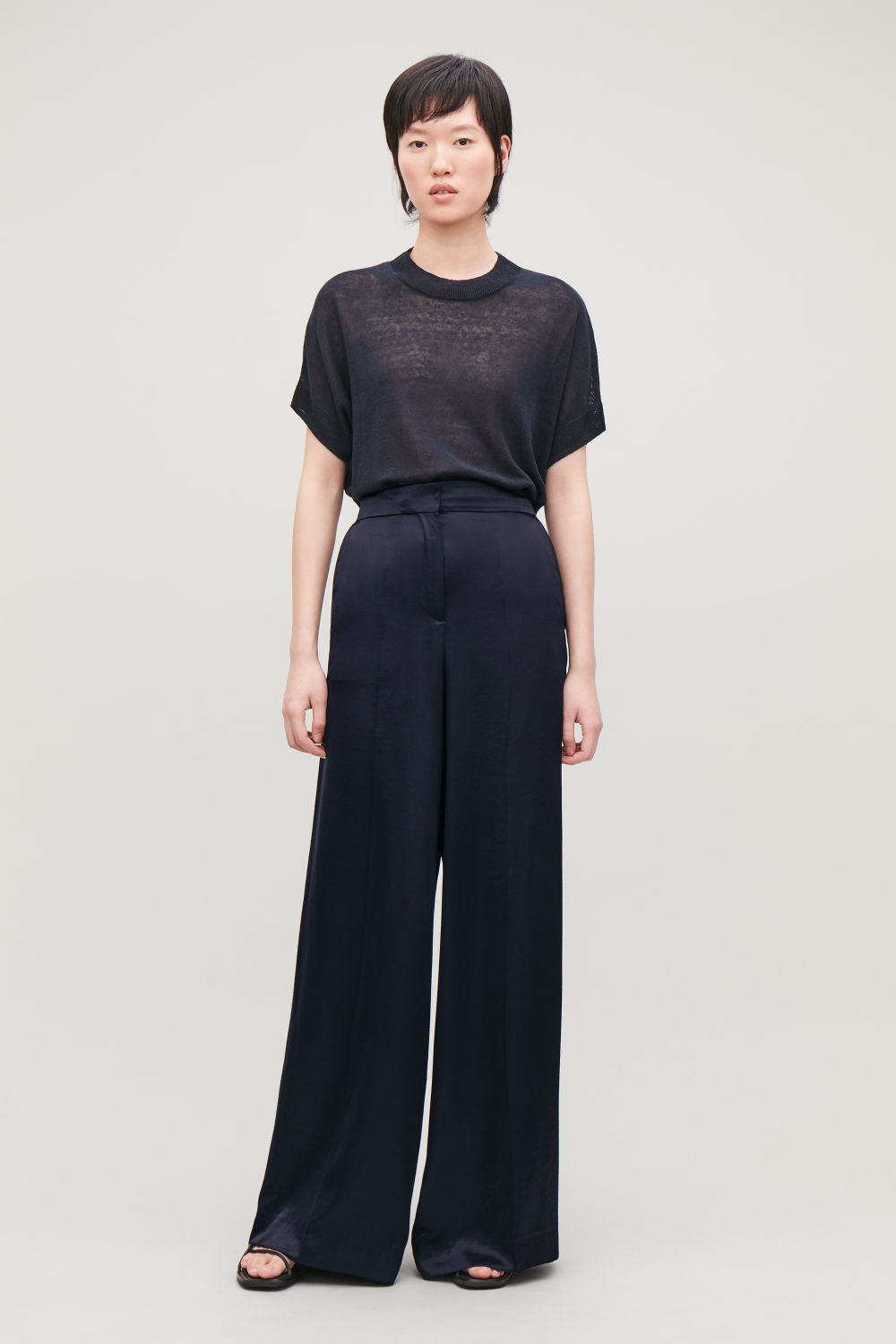 코스 COS SMOOTH WIDE-LEG TROUSERS,Midnight blue
