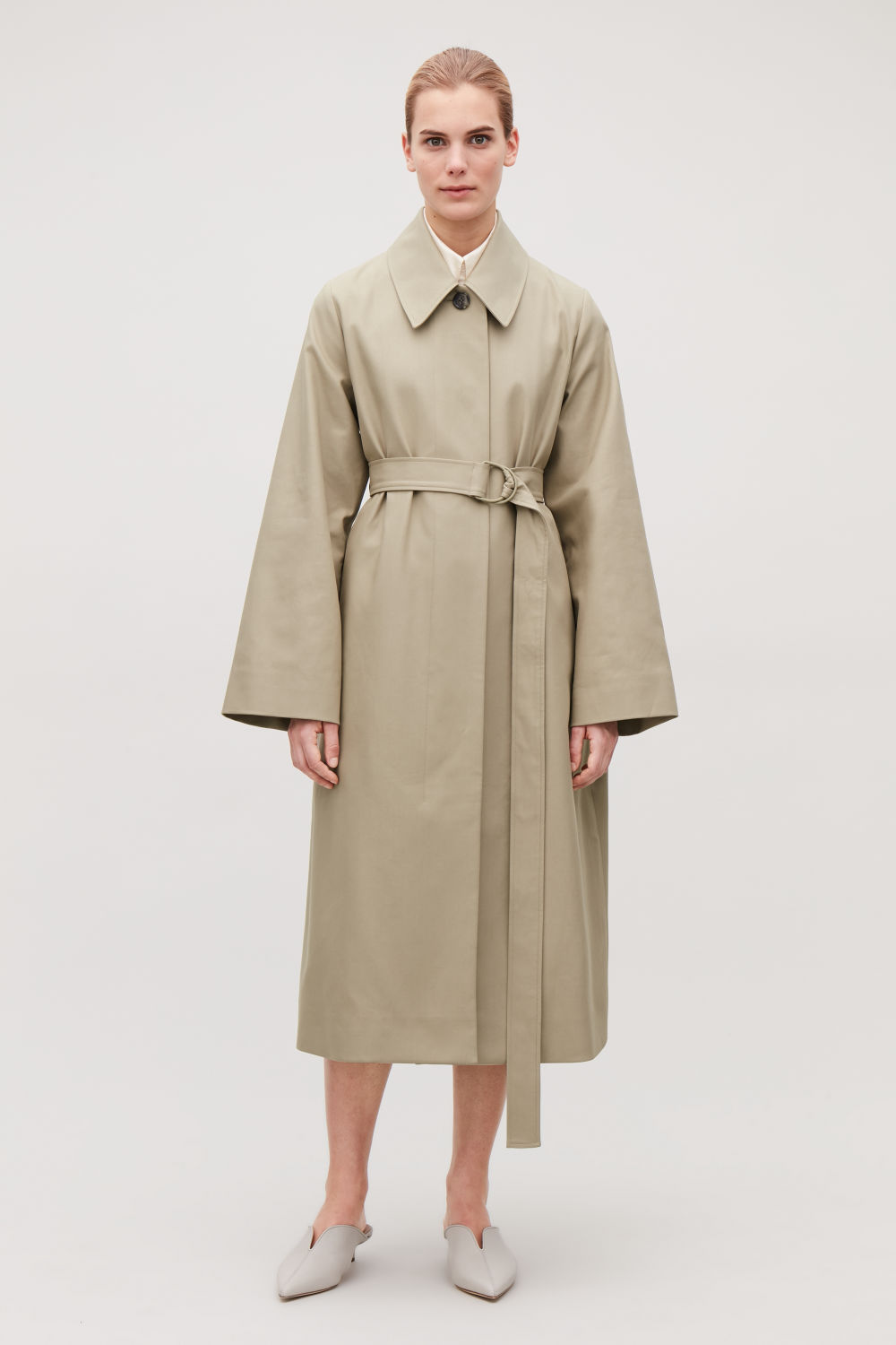 코스 COS WIDE-SLEEVED TRENCH COAT,Straw