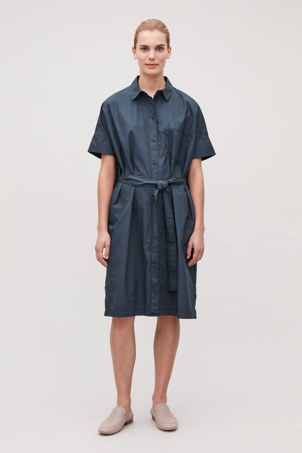 코스 COS BELTED OVERSIZED SHIRT DRESS,Steel blue