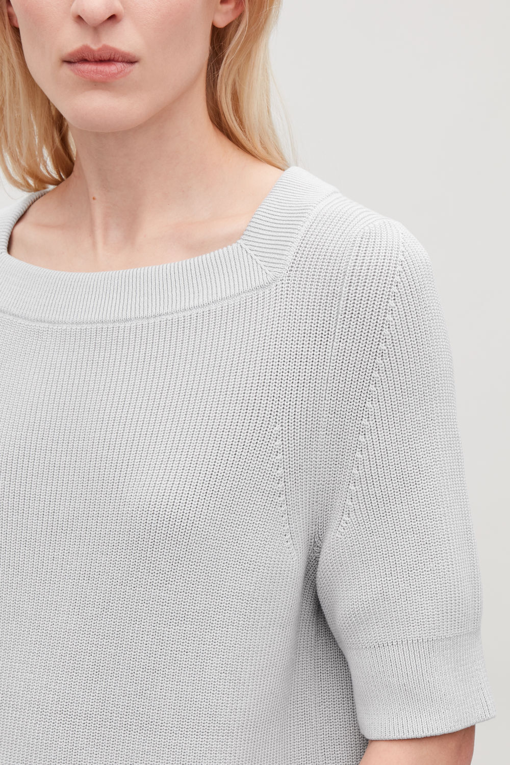 COS SQUARE-NECK RIBBED KNIT TOP,Grey