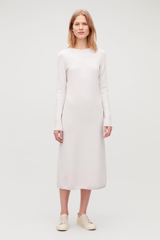 코스 COS LONG MID-WEIGHT KNIT DRESS,Calico