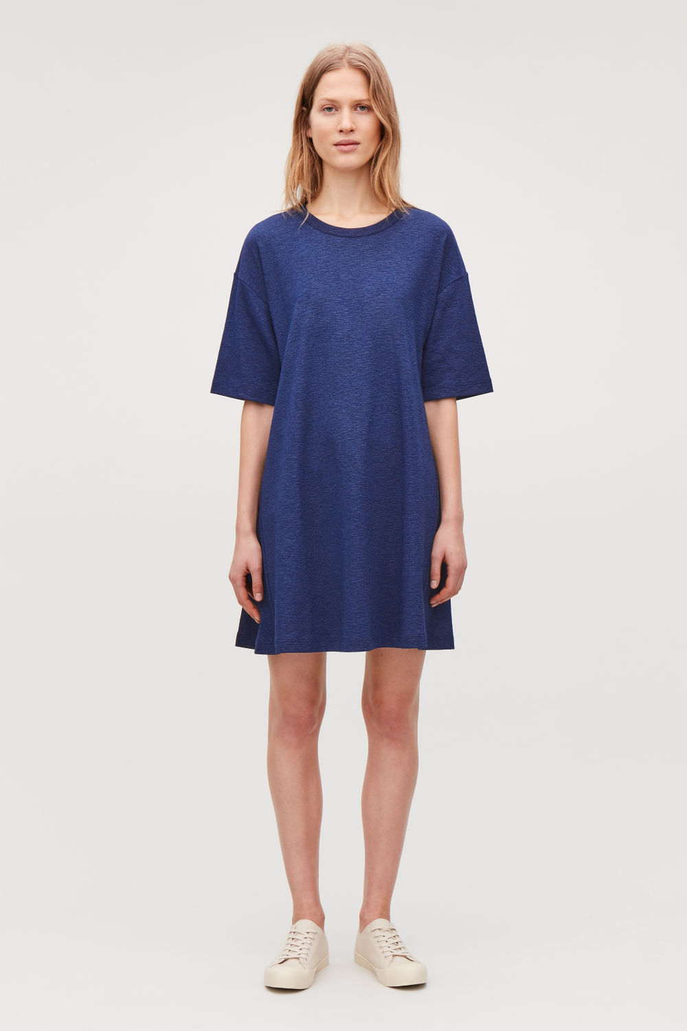 코스 COS CASUAL JERSEY A-LINE DRESS,Cerulean blue