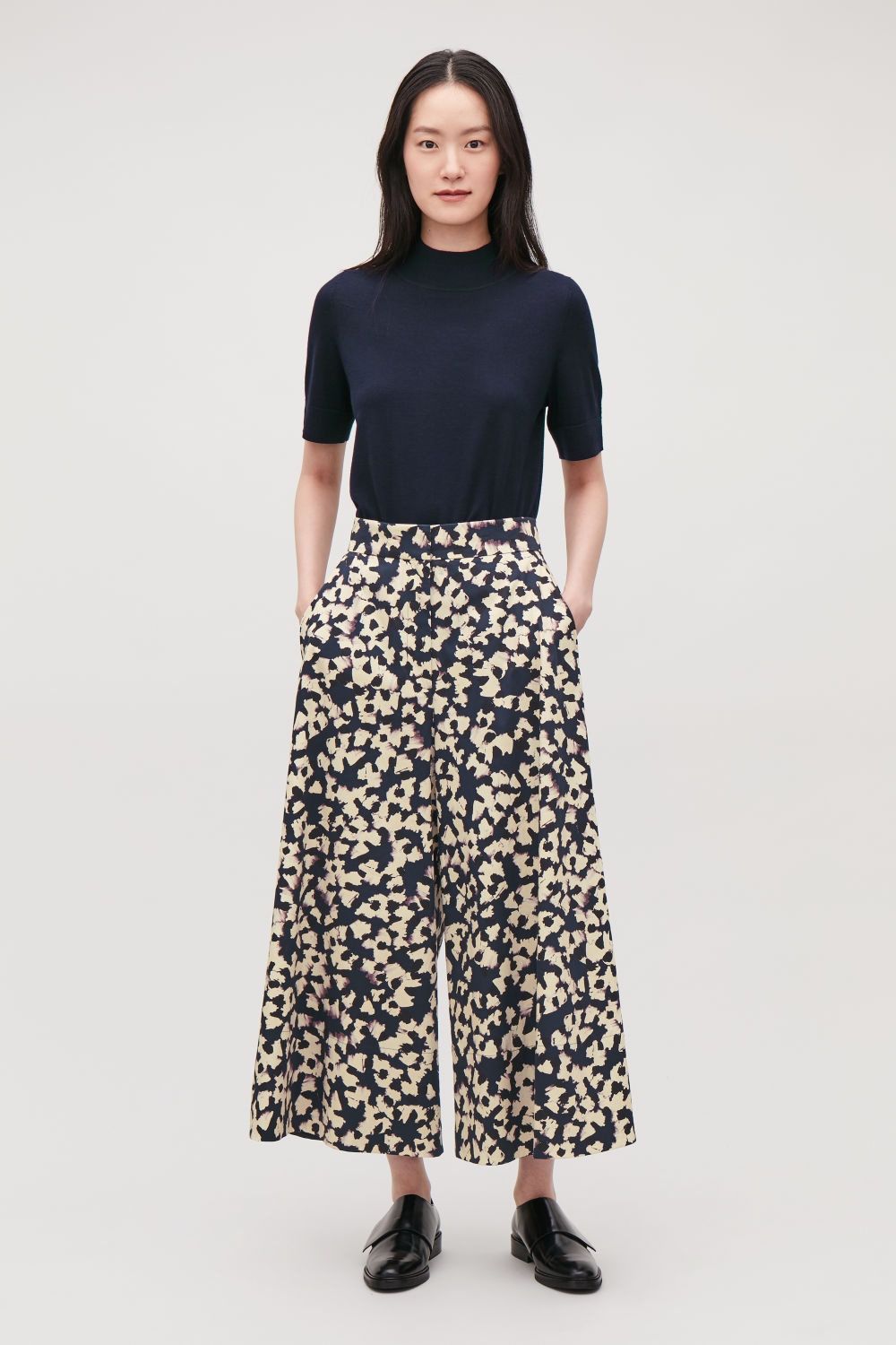 코스 COS PRINTED ELASTIC WIDE-LEG TROUSERS,Deep navy \/ cream