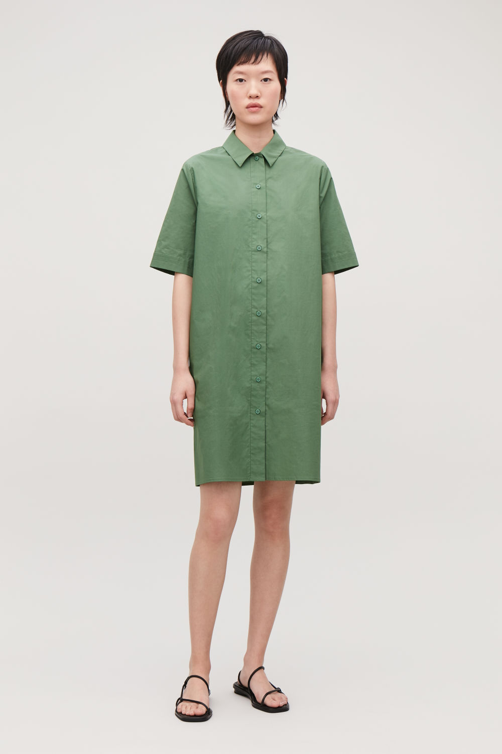코스 원피스 COS ORGANIC-COTTON SHIRT DRESS,Chalk botanical green