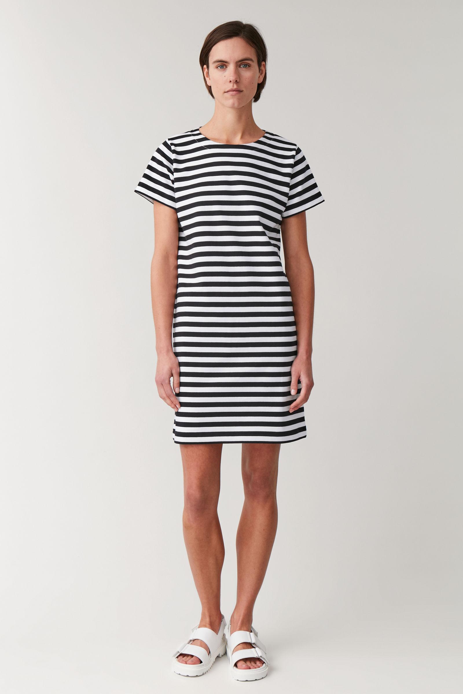 코스 원피스 COS STRIPED COTTON T-SHIRT DRESS,navy  white