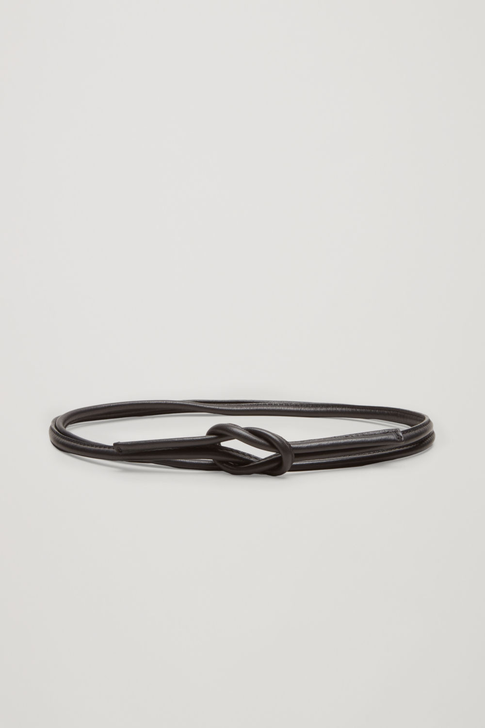 코스 COS TIE-UP LEATHER BELT,Black