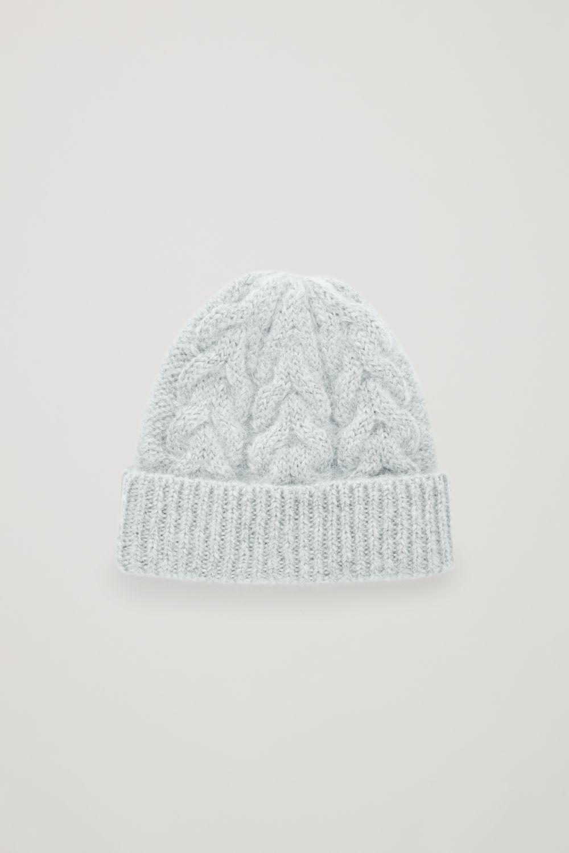코스 COS CABLE-KNIT HAT,Pale green