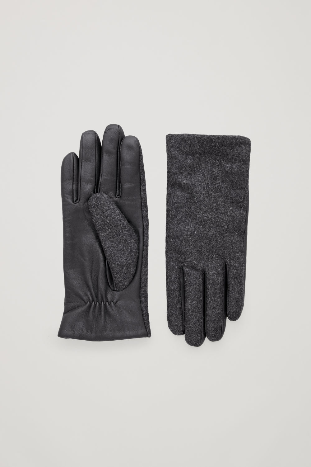 코스 COS LEATHER AND WOOL GLOVES,Dark grey melange \/ Black