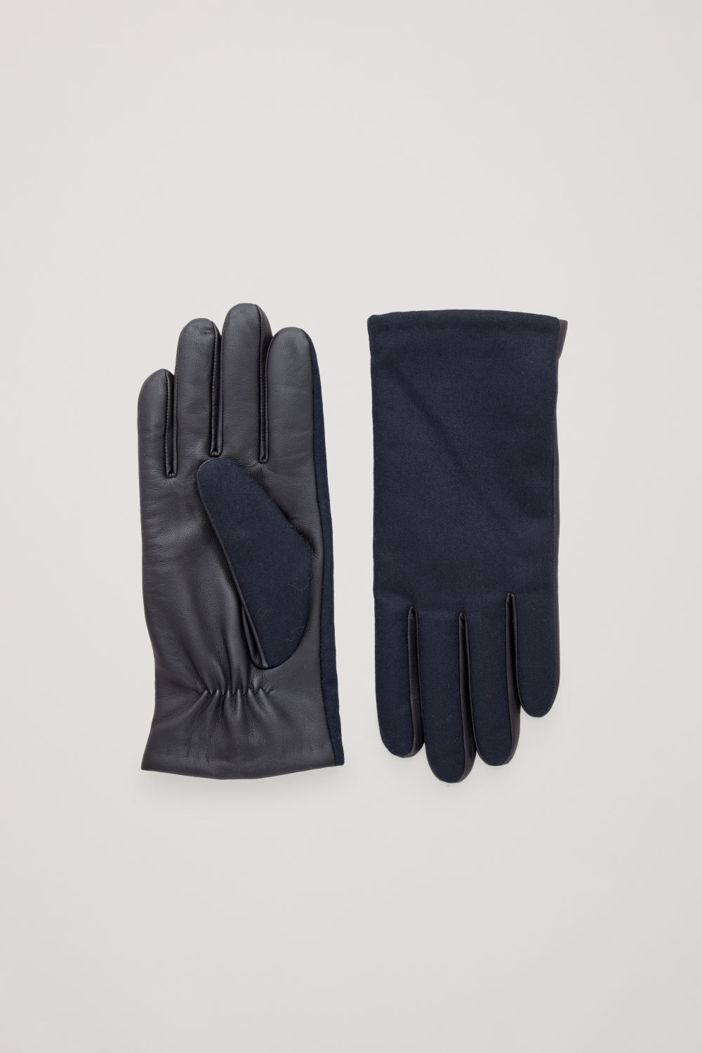 코스 COS LEATHER AND WOOL GLOVES,Navy \/ black