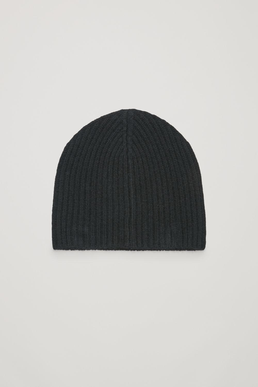 코스 COS RIBBED CASHMERE HAT,Black