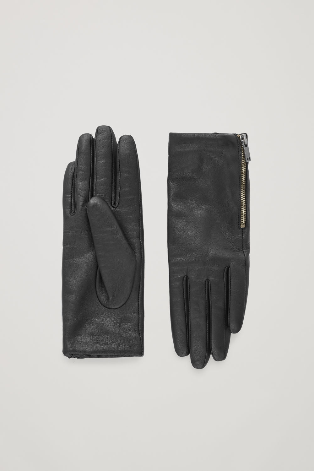 코스 COS ZIP LEATHER GLOVES,Black