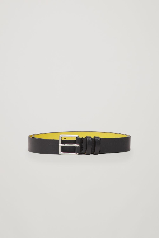 코스 COS CONTRAST LEATHER BELT,Black \/ acid yellow