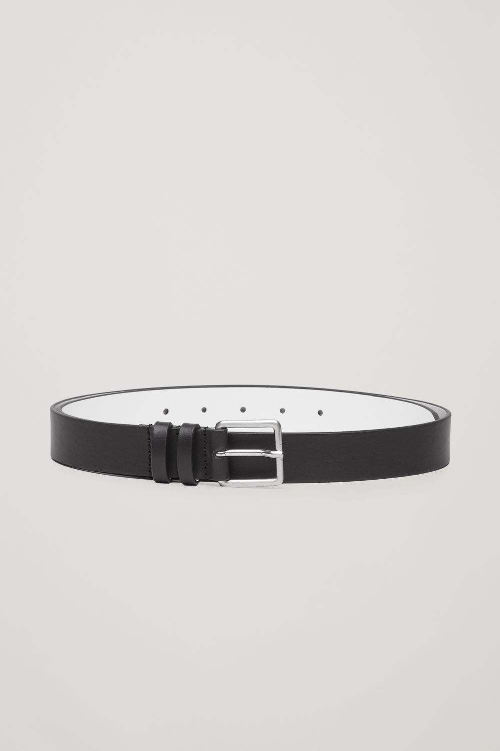 코스 COS CONTRAST LEATHER BELT,Black \/ white