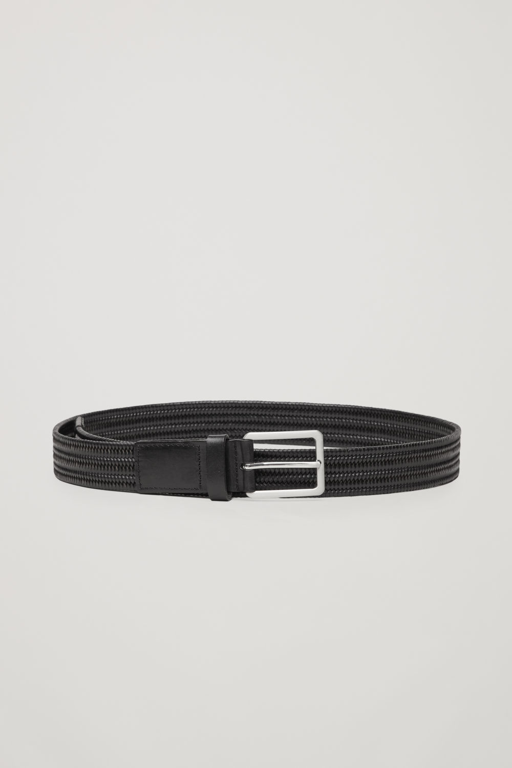 코스 COS ELASTIC BRAIDED LEATHER BELT,Black