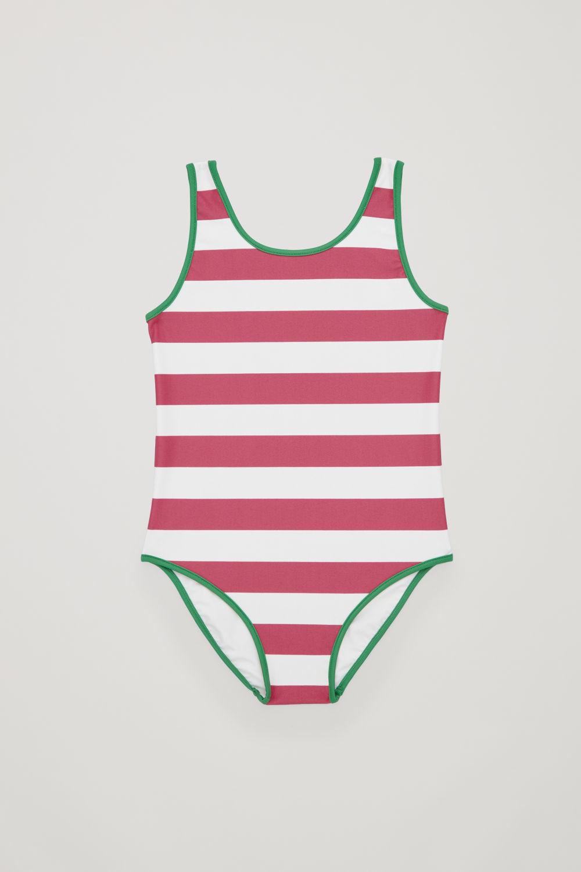 코스 걸즈 수영복 COS STRIPED SWIMSUIT,Pink \/ white \/ green