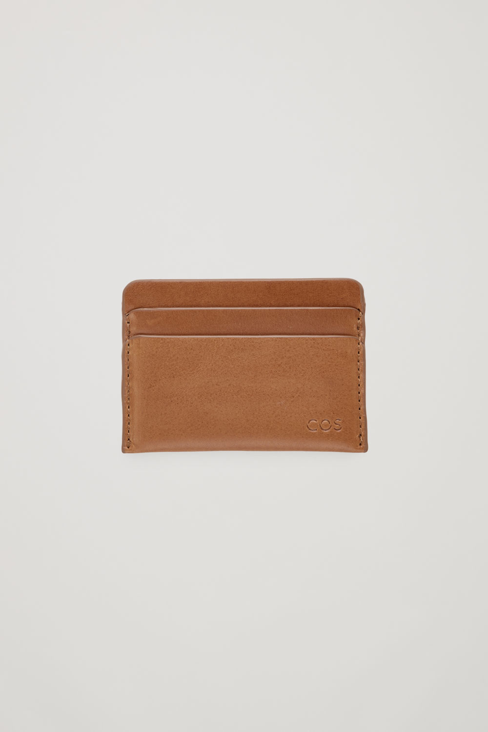 코스 COS ROUND-EDGED LEATHER CARDHOLDER,Beige
