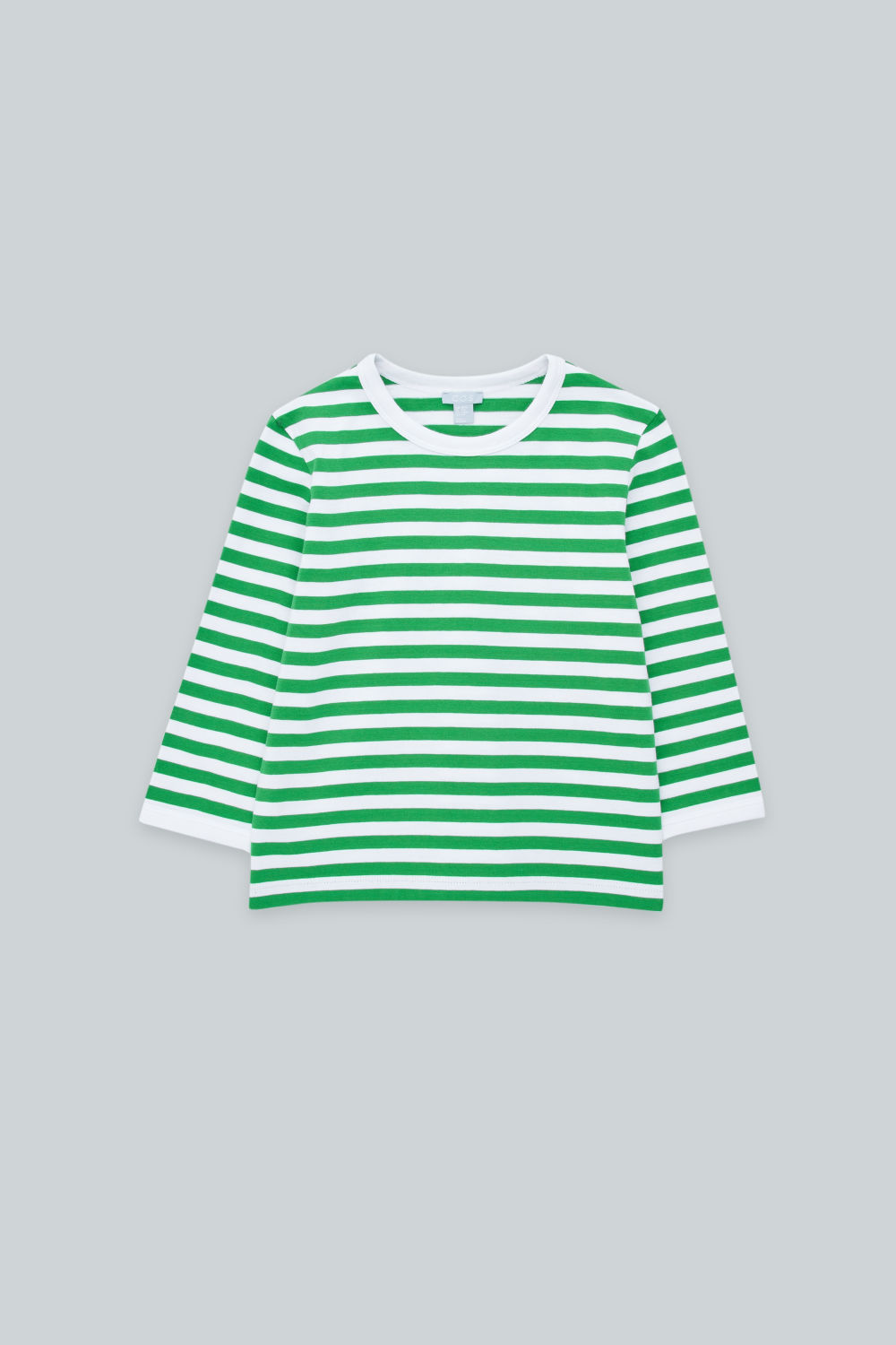 코스 보이즈 긴팔 티셔츠 COS STRIPED TOP WITH ELBOW PATCHES,Green \/ white \/ navy