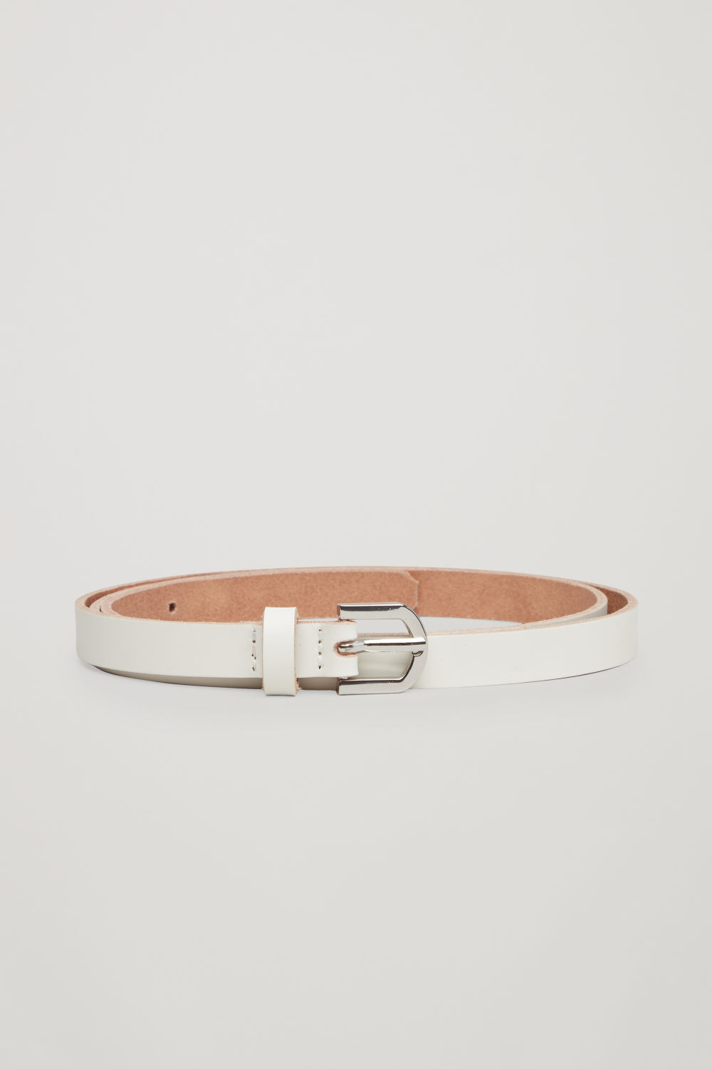 코스 COS Leather belt with contrast buckle,White