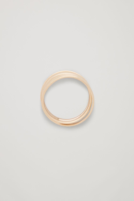코스 COS BRUSHED-METAL INFINITY RING,Gold