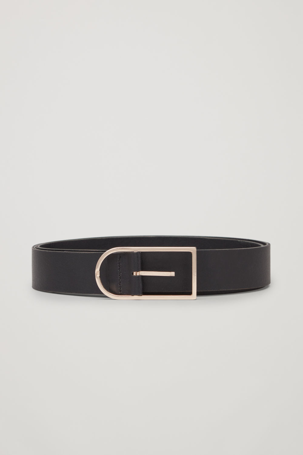 코스 COS SLIM-BUCKLE LEATHER BELT,Black