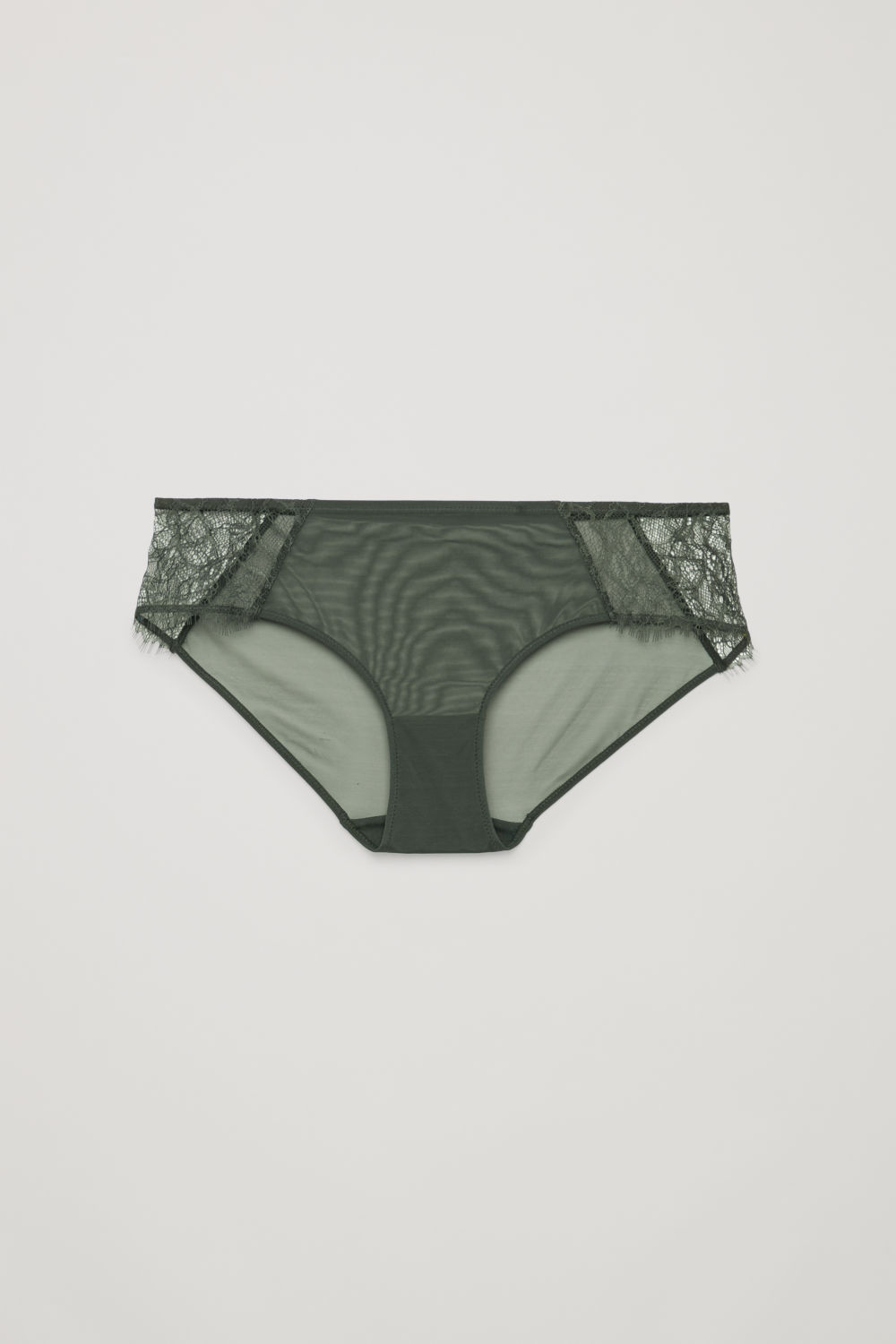 코스 언더웨어 하의 COS LACE-DETAILED MESH BRIEFS,Khaki green