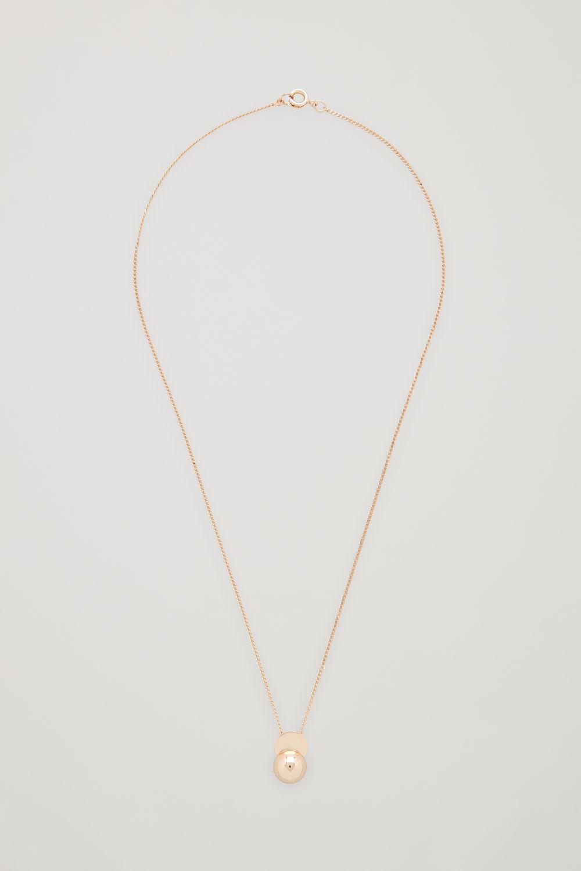 코스 COS SEMI-CIRCLE PENDANT NECKLACE,Gold