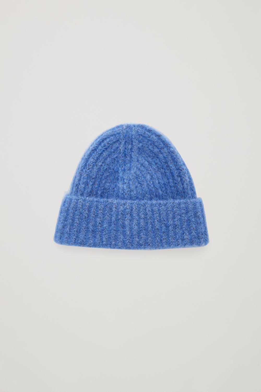 코스 COS FUZZY RIBBED-WOOL HAT,Sky blue
