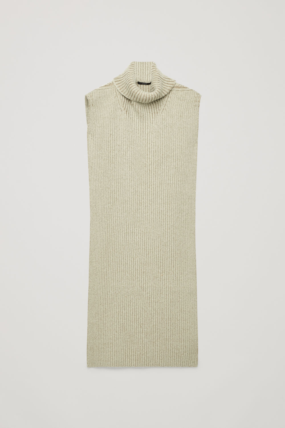 코스 COS HYBRID RIBBED WOOL-YAK SCARF,Sage green \/ bronze
