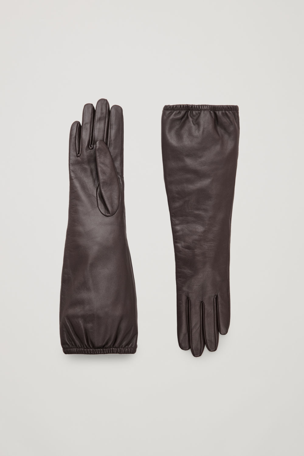 코스 COS LONG LEATHER GLOVES,Dark brown