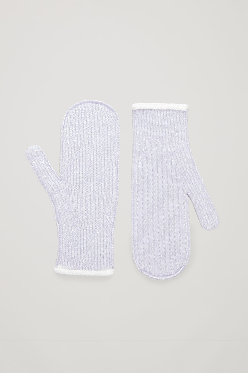 코스 COS RIBBED KNITTED MITTENS,Lilac melange
