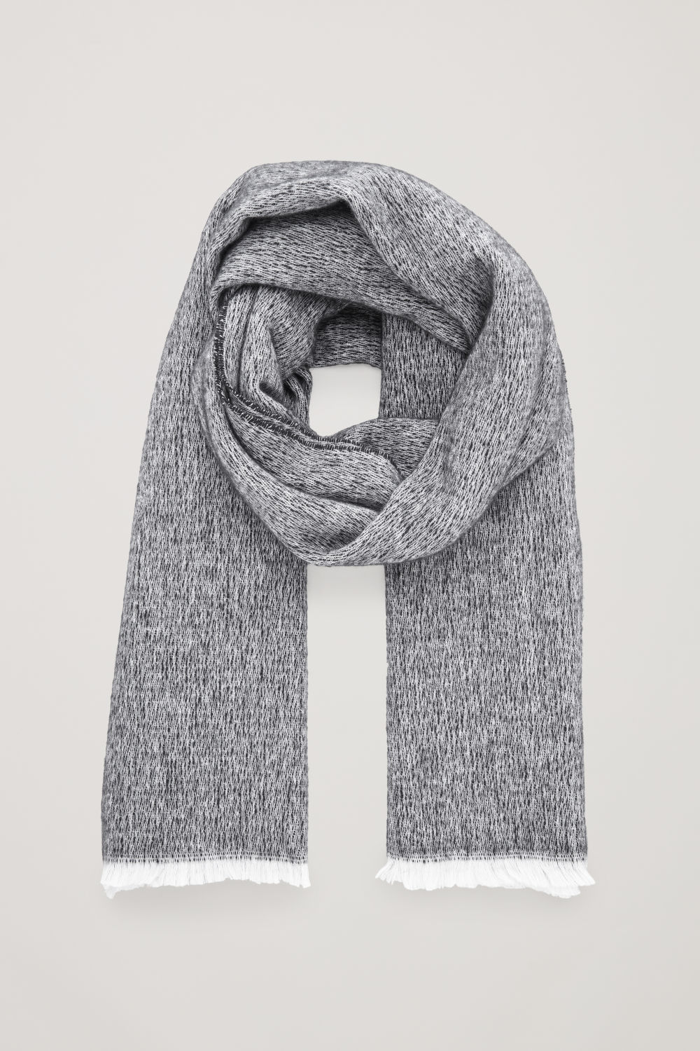 코스 COS COTTON-WOOL SCARF,Black \/ white