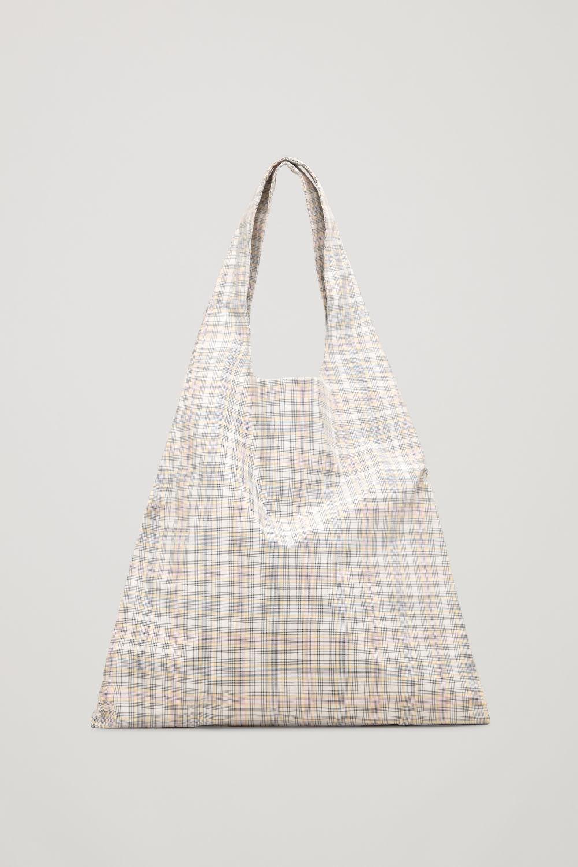 코스 COS CHECKED TOTE BAG,White \/ yellow \/ pink