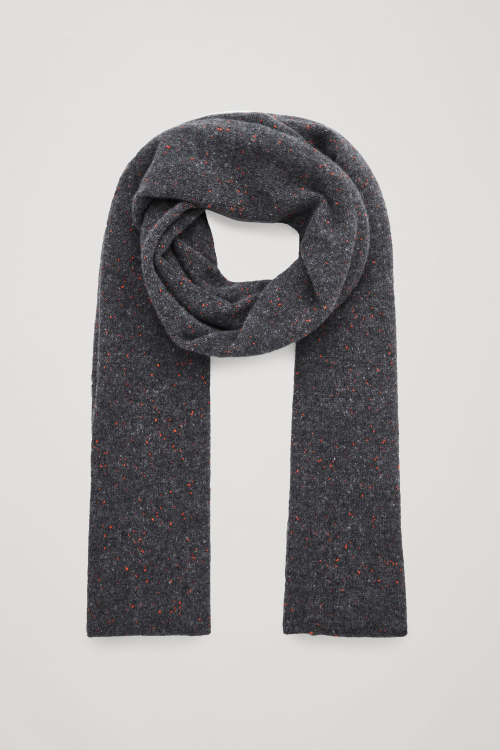 코스 COS SPECKLED CASHMERE SCARF,Dark grey \/ red
