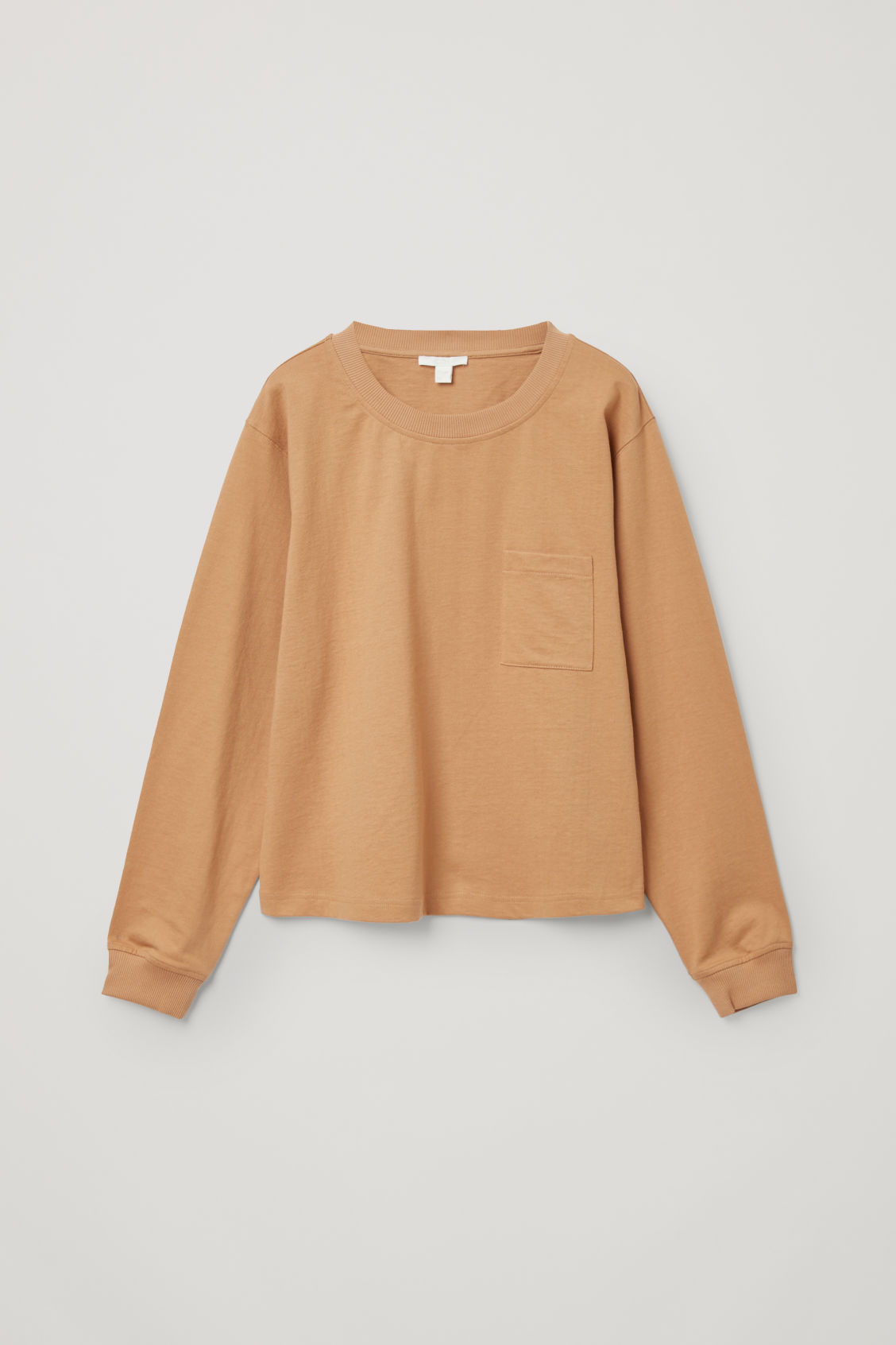 Cos Cotton Long-sleeve Patch Pocket T-shirt In Beige