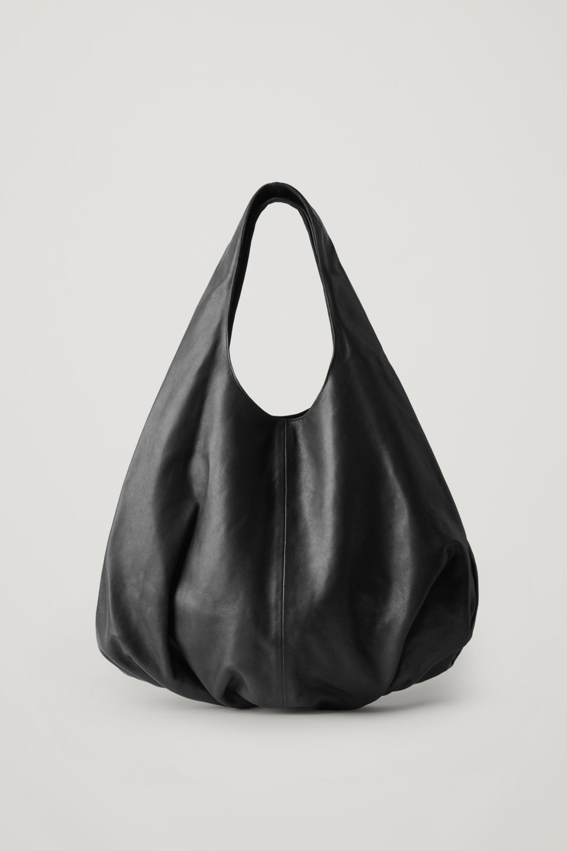 Cos Gathered Leather Shopper In Black
