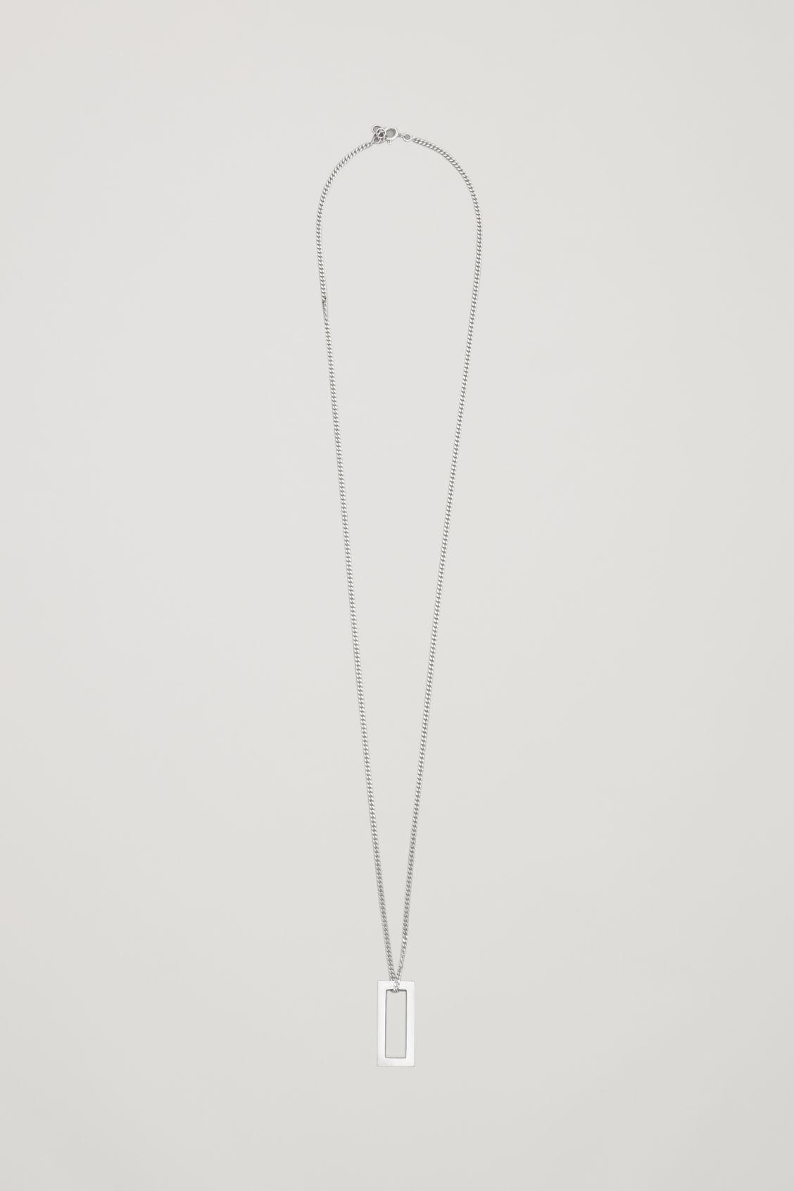 Cos Square Pendant Necklace In Silver
