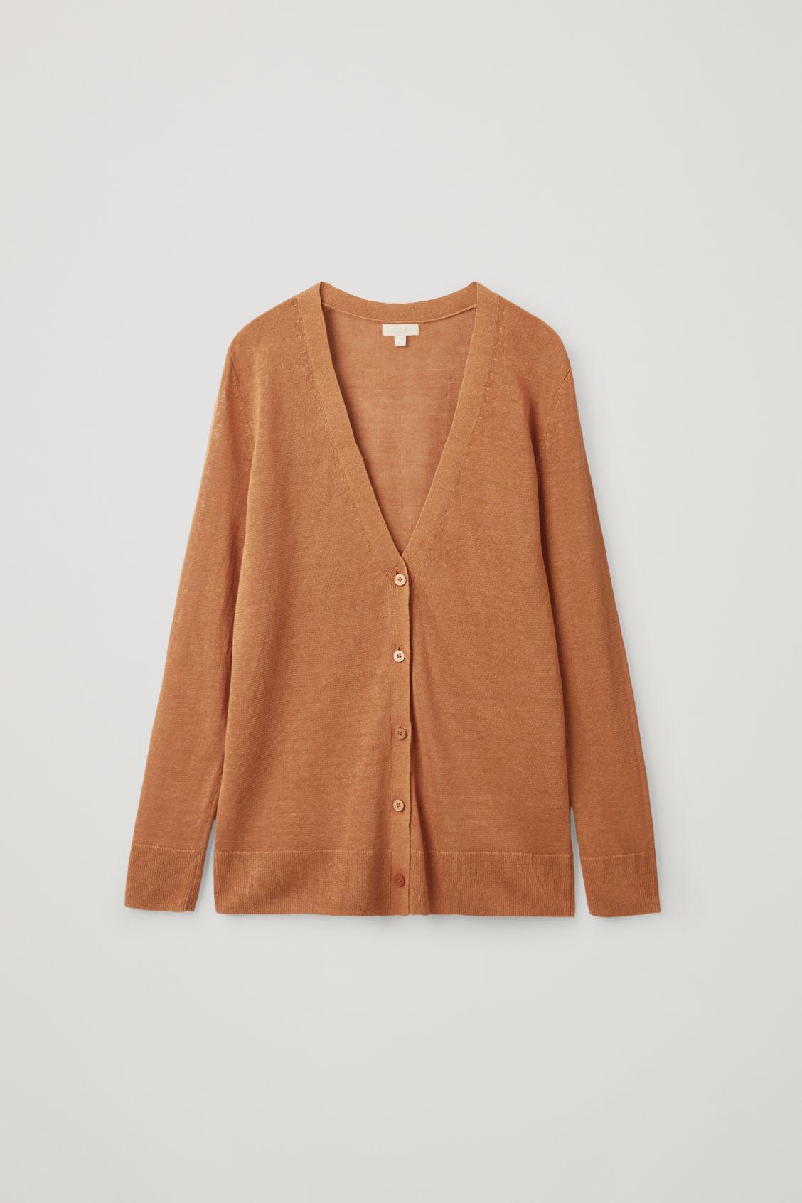 Cos Linen-mulberry Silk Cardigan In Orange