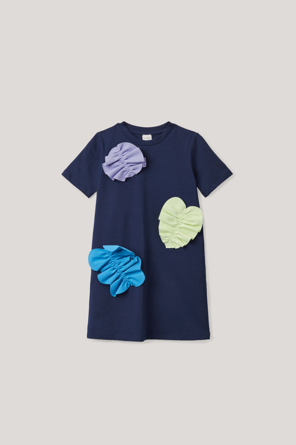 Cos Kids' Ruched-applique Dress In Blue