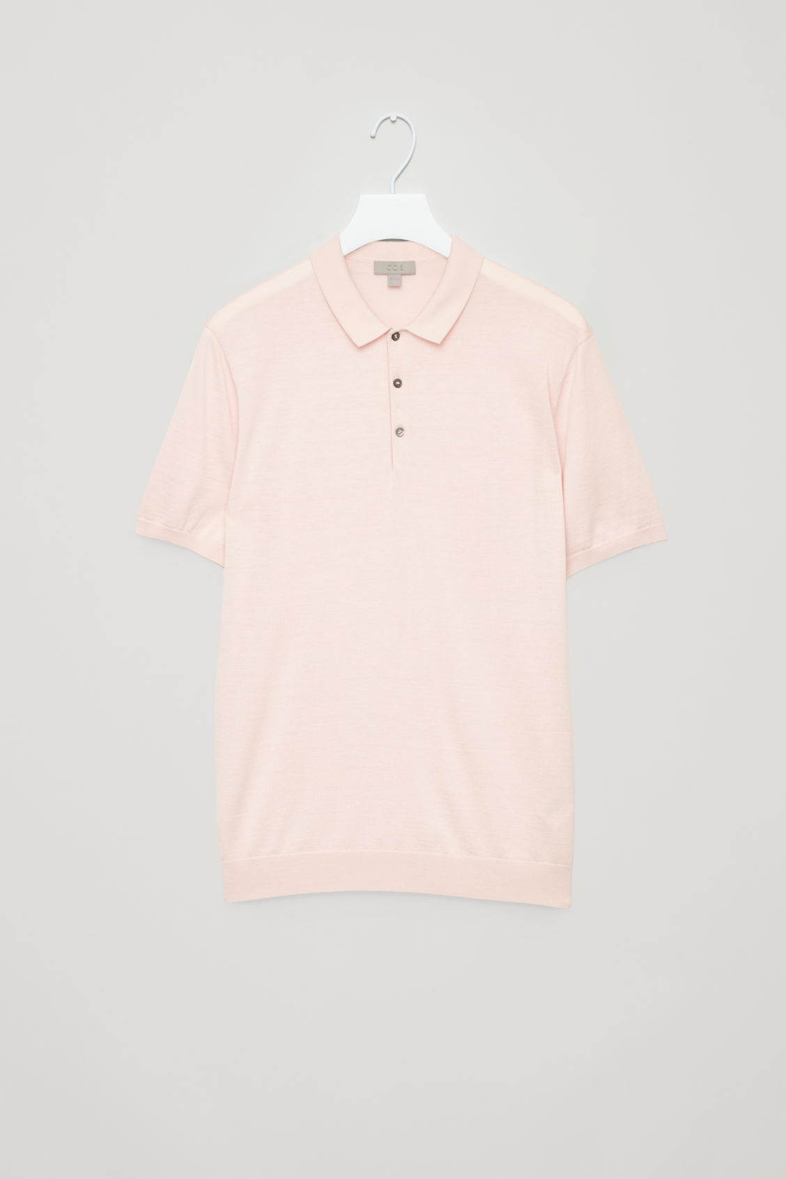 COS Silk-Cotton Polo Shirt in Pink