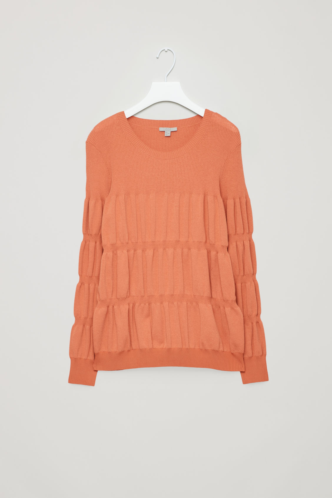 COS Long-Sleeve Rib-Stitched Top in Orange