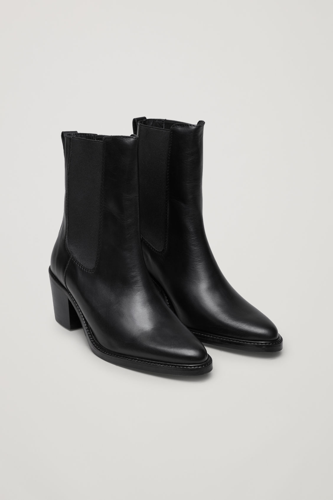 Tall Leather Chelsea Boots in Black from COS